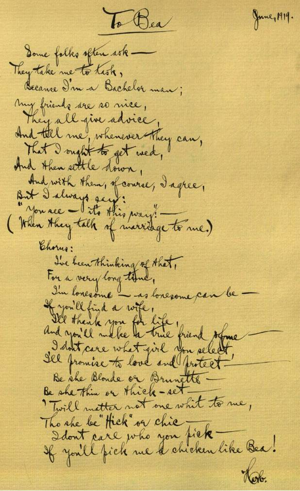 Herbert Auerbach, left this poem in her guest book after a visit.