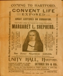 Margaret L. Shepherd advertises her lectures on the evils of the Catholic Church. Broadsides Medium 1899 C733