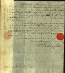 Wolcott's letters were at one time pasted to slips of paper that were then bound into a book-like form. The strip is very visible here.
