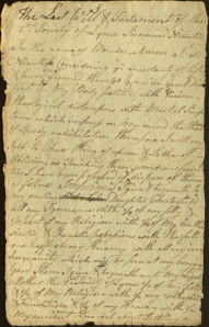 The first page of the church's last will, 1767. Ms 101731
