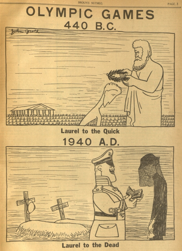 A visual comment about the 1939 Olympics, held in Berlin.