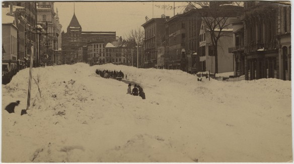 Blizzard of 12 March 1888, Hartford, looking north on Main Street, from near Aetna Insurace Co. Building. Photography by Orgill, Hartford. The Connecticut Historical Society collections.