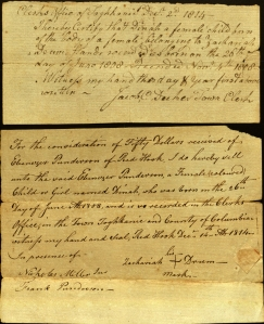 The top document attests to Dinah's birth, the bottom one is the bill of sale. Ms 101749, Folder 2.