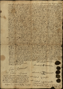 Native American deed for land in Branford, 1686. CHS Ms 101753