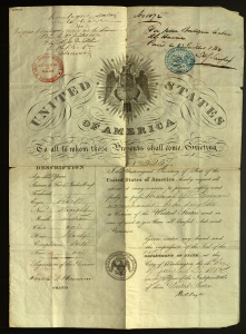 Sarah Barnum's passport (MS 65903) includes mention of her daughter, Gertrude, and is stamped from their 1850 trip to England and France.