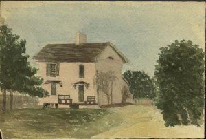 "Undated watercolor sketch of the Teacher's House at Holley School, Lottsburg, VA, by an unknown artist.  Captioned on the back, in what is believed to be Caroline Putnam's handwriting, ""Miss Holley's House""."