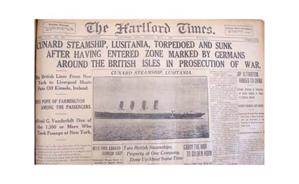 Hartford Times Headline 5-7-1915