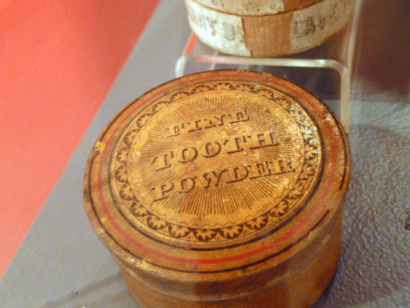 Dr. J. Perkins' dentilave tooth powder container, late-1800s, Danielsonville, CHS collection