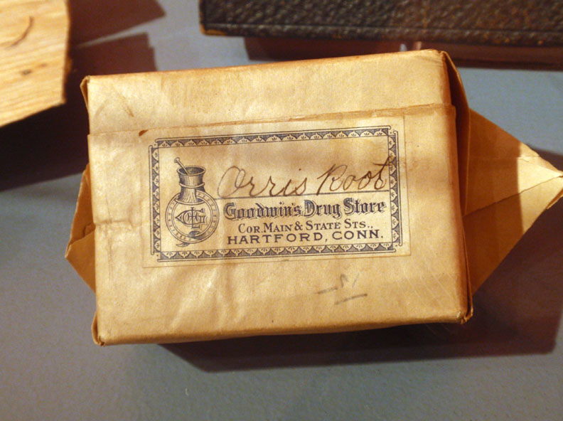 Orris root package, distributed by Goodwin's Drug Store, about 1925, Hartford, estate of Florence S. M. Crofut, bequest of Mrs. George H. Day