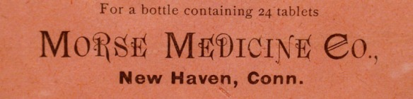 Poster for Morse's Headache Tablets, New Haven, 1800s, CHS collection