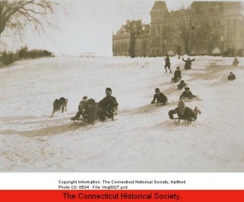 Children sledding in Bushnell Park