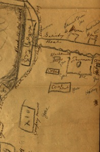 "Detail of the Mt. Riga Furnace map.  Note the identification of the buildings and the notation indicating whether the building is ""gone"" or ""standing."""