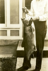 Massive lake trout taken from Lake Wononscopomuc.  This record has stood for 86 years.