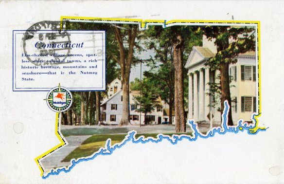 """This 1940s postcard, published by Mobil Oil Company, touted Connecticut's """"Elm-shaded village greens, spotless white colonial towns, a rich historic heritage, mountains and seashore…"""" typifies the type of card of the period. CHS 1969.56.14"""
