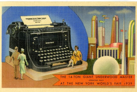 Though technically not a CT postcard per se, this souvenir of the 1939 World's Fair commemorates Connecticut's manufacturing prowess in the form of a working14-ton Underwood typewriter!  CHS 1991.128.19