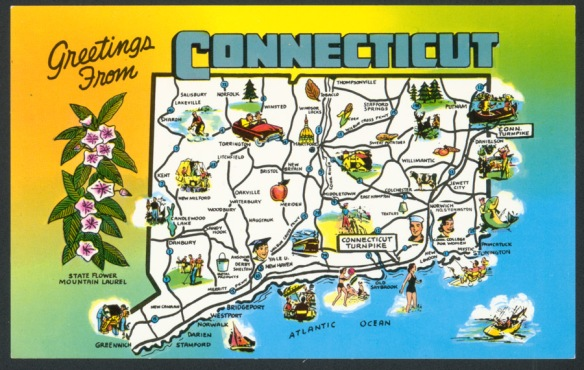 """Though published in the 1960s, the artwork probably dates a decade earlier. The emphasis here is on the state's recreational opportunities, not on any characterization of """"Connecticut Yankees"""".  CHS 2009.347.0"""