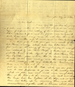 Charlotte Cowles describes anti-slavery meetings she attended in June and July, 1834. Ms 101754.
