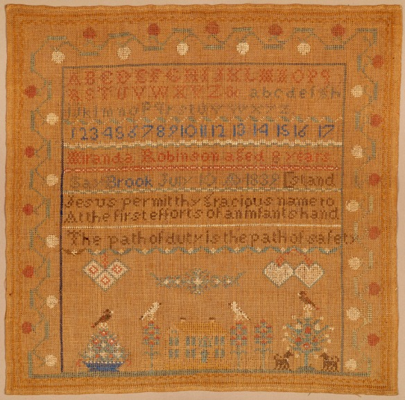 Sampler, 1839 by Miranda Robinson, 1990.142.0.