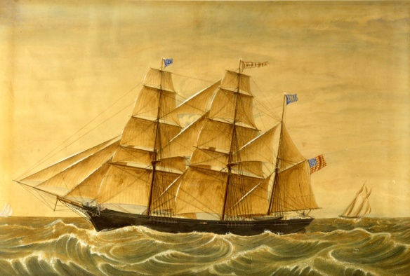 A splendid watercolor portrait of the bark Bridgeport typifies Huge's style of vessel and water. It was almost certainly painted for one of the vessel's owners. CHS 1996.89.0