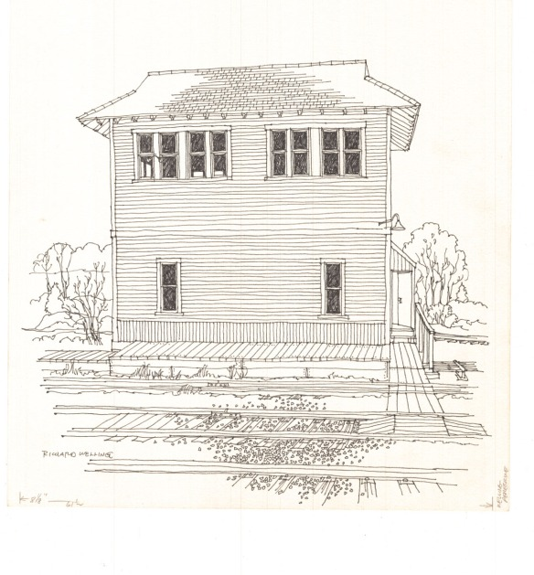 The Old Saybrook switch tower was 65 years old when Welling sketched it in 1977. Track realignment and electrification of the Shoreline route rendered it obsolete and the tower was razed in 1998. CHS 2012.284 coll.