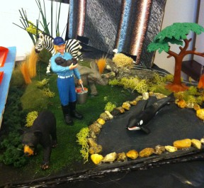 This diorama is from the exhibit Beyond the Courage of Cruelty about the animal rights movement and it was created by Callie Storrs and Margaret Chafouleas. The project won 2nd place at the Connecticut State Contest.