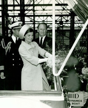 Jackie Kennedy christening the USS Lafayette, 1962