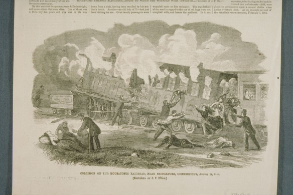 Huge provided this sketch of the August 1865 Housatonic RR disaster near Bridgeport for Harper's Weekly. CHS 1979.46.16