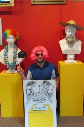 Kyle, our Public Outreach and Membership Associate, could not resist trying on the pink wig either!