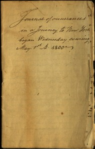 Cover of an anonymous travel journal, 1800. Ms 01811.