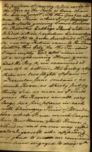 Page from the 1800 journal describing the President's house in Philadelphia. Ms 101811