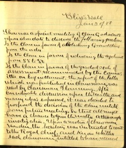 First page of the minutes of Clan Gordon, 1888. Ms 101812