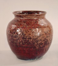 Vase, 1930s-1940s. Gift of William Warren, 1977.88.1 (This vase is made of wheel-thrown stoneware with mottled purple, red and blue glaze.)