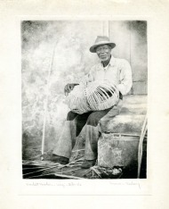 """Basket Maker- Virgin Islands"". Gift of Mrs. Luman P. Kelsey, 1977.93.2 (Inscription on the back of this photo reads ""St. Croix"".)"