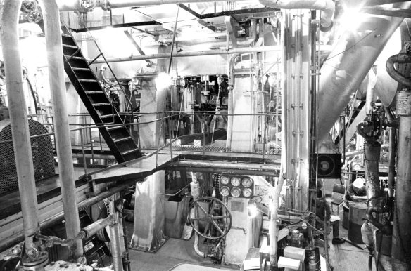 You can almost smell the hot lube oil permeating the air in Richard Welling's photo of the engine room of the Liberty Ship John W. Brown. CHS 2012.284.4718