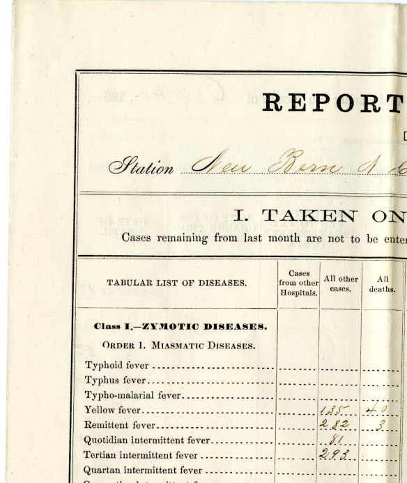 "This detail of the regiment's ""Report of Sick and Wounded"" for October 1864 tells the story of the fever. The ""Remittent"" and various ""intermittent"" fevers listed refer to related fever symptoms that appear at different intervals, suggesting that perhaps malaria was also present. CHS MS 92085"