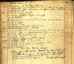 Account of furniture for Uriah Loomis. Ms 77696.