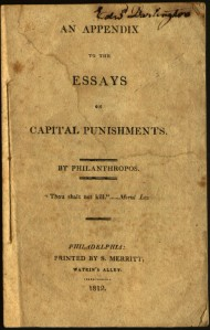 """Title page from """"An Appendix to the Essays on Capital Punishments"""""""