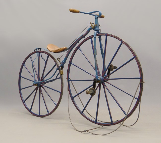 A rare Lakin velocipede now in the collection of the CHS. The wheels are wooden with an iron band. CHS 2013.210.0 Photo copyright Copake Auction.