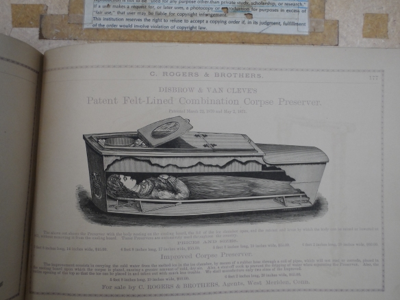 The 1876 catalog of C. Rogers & Co. of West Meriden (dealers in casket hardware and trimmings) included a full page entry for these corpse preservers.  CHS Library Collection