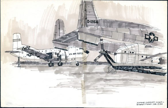 Richard Welling's December 1971 sketch done at the air museum focused on the C-124C Globemaster transport in the background and the distinctive twin-tail section of the C-119 Flying Boxcar. In the foreground is the tail rotor of Sikorsky's experimental S-59 helicopter. CHS 2012.284.5618