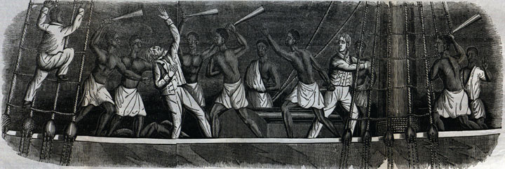 Scene of the uprising on the Amistad, published in A History of the Amistad Captives by John Warner Barber, New Haven, 1840.