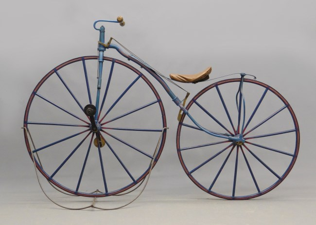 Velocipedes typically had wheels of different sizes. CHS 2013.210.0 Photo copyright Copake Auction.