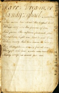 Mary's Dream as copied by Sarah Churchill, when her lover's ghost speaks to her. Ms 101734