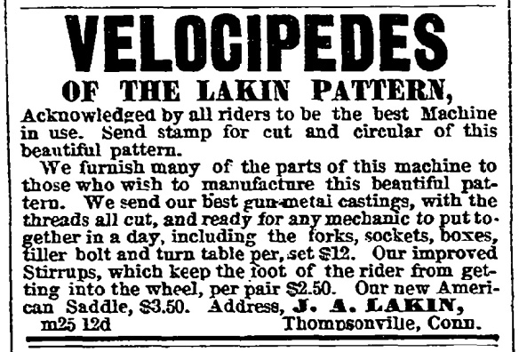 Advertisement for Lakin velocipedes in the Springfield Daily Republican, March 27, 1869. (Velocipede_ad.tif)