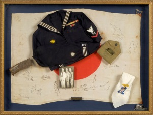 Paul Week's Jr. created this shadowbox display to honor his father and uncles for their wartime service. 2007.66.0