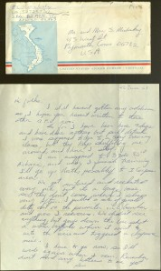 Letter from Ken Mickloskey to his parents, while he was in Vietnam. Ms 91262