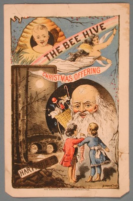 The Bee Hive Christmas Offering, 1867. (The Bee Hive was a dry goods store that also handled dress making and millinery. The store was located on 380 Main Street in Hartford, Conn. A poem (partially wiped out) is inscribed on the back of the lithograph. (Please see eMuseum record for the reverse image.)