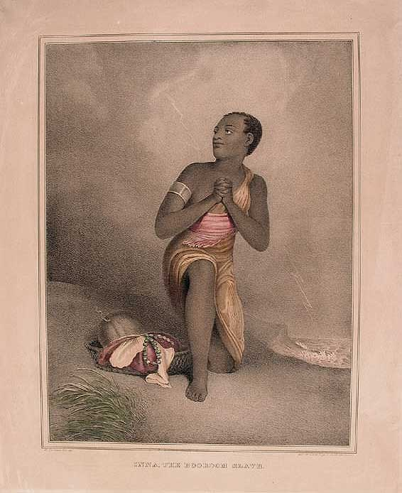 Inna, The Booroom Slave, lithography; printer's ink and watercolor on wove paper, 1838, Hartford, after a work by Henry Thomson, printed by D. W. Kellogg & Co. published by D. W. Kellogg & Co.