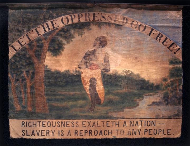 Anti-Slavery Banner, 1835-1845, ;inen, silk, paint, wood, iron, museum purchase, 1997.13.0.