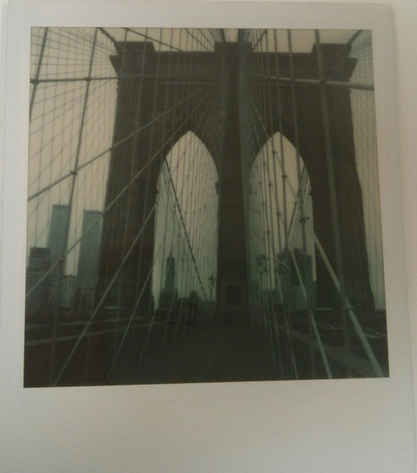 Richard Welling. Brooklyn Bridge, with Manhattan buildings in the background, including World Trade Center towers. 2012.284.768.